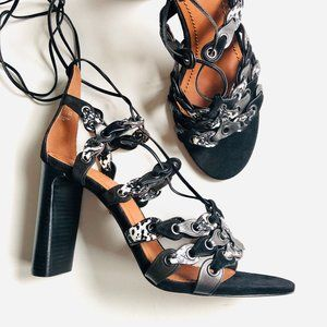 NEW Coach Leather Link Lace Up Heels